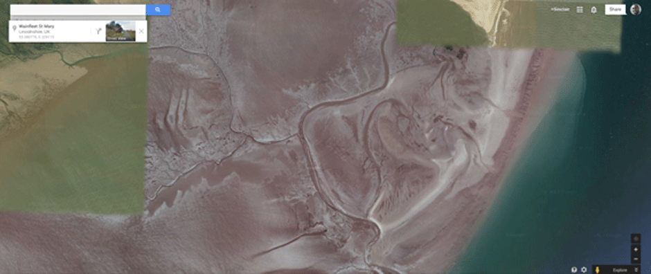Satellite image of part of Lincolnshire coastline
